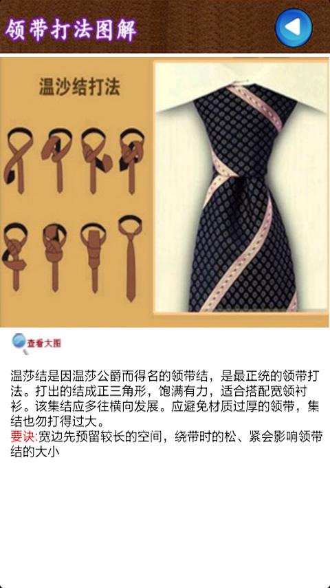本软件介绍十大领带打法图解,包含了温莎结,四手结,十字结,平结,交叉