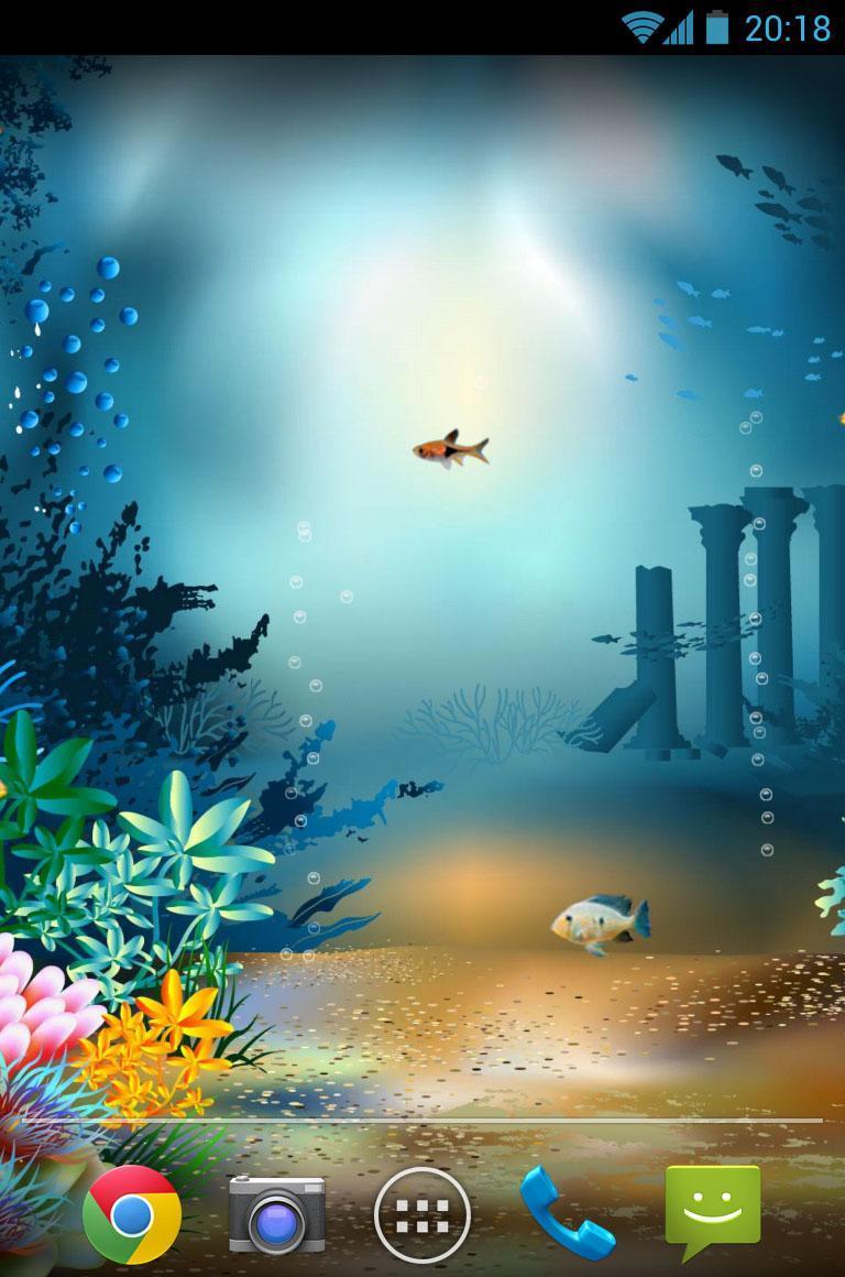 水族馆海底世界动态壁纸 特点: 1,逼真游鱼动画效果 2,逼真泡泡效果