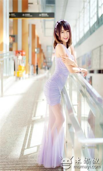 清纯唯美紫裙美女动态壁纸下载