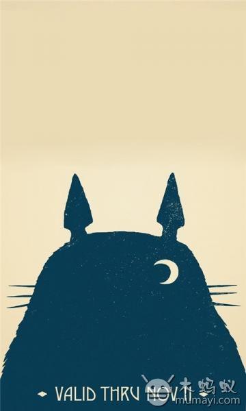 可爱龙猫插画手机壁纸v1