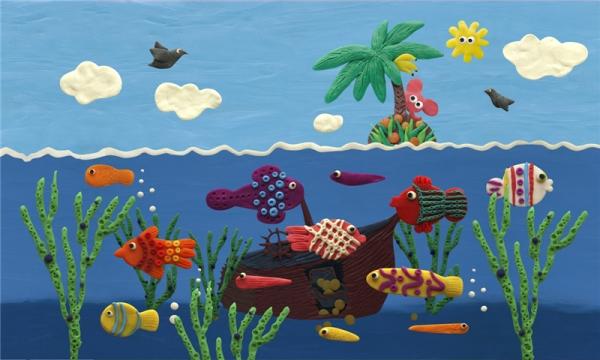 享受这个岛屿,海洋生物和自然之美.水族馆海洋橡皮泥风格.