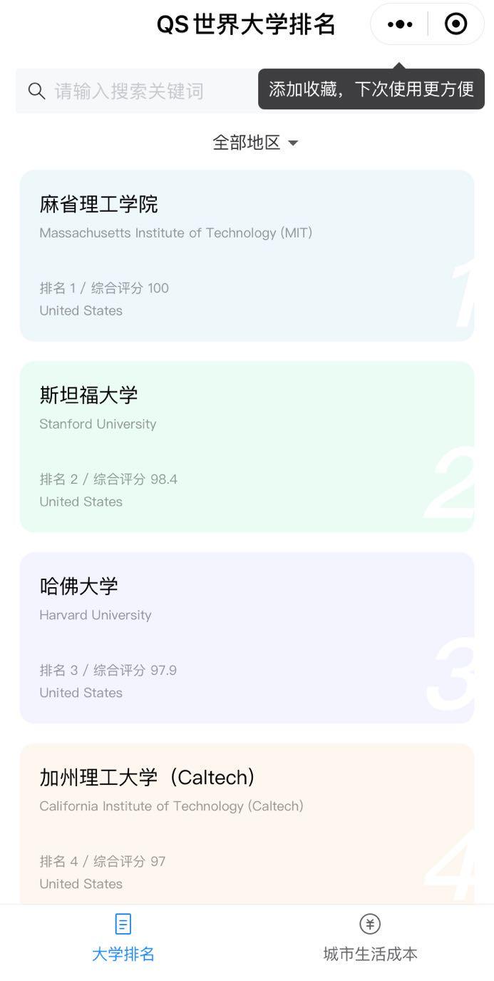 QS世界大学排名